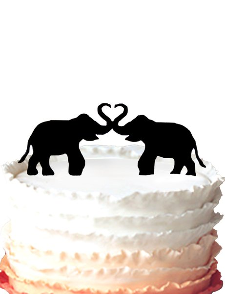 wedding cake toper,Two Elephants in love heart for party cake decor,37 color for option Free Shipping