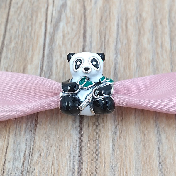 Authentic 925 Sterling Silver Beads Cute Panda Charm Charms Fits European Pandora Style Jewelry Bracelets & Necklace 796256ENMX