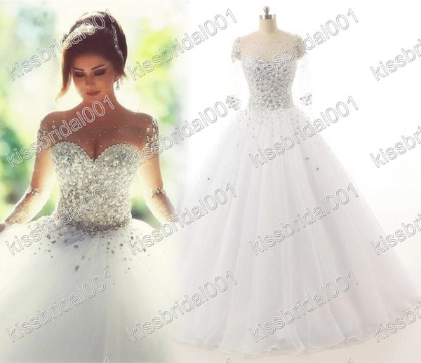 top popular Real Photo Wedding Dresses Long Sleeves Crystal Quinceanera Dress Elegant Lace Up Sheer Illusion Neck Ball Gown Bridal Gowns 2021
