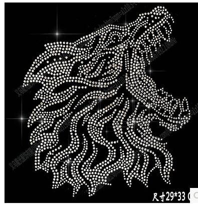 Hot DIY 29*33cm wolf head bling crystal patterns clothing accessories Hot Fix Rhinestones motif Heat Transfer on Design Iron On clothes