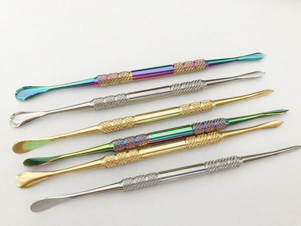 10 pcs 121mm Rainbow Gold Cor De Aço Inoxidável Dabber Ferramenta de Cera Ferramenta para erva seca vaporizador caneta Globo De Vidro Atomizador