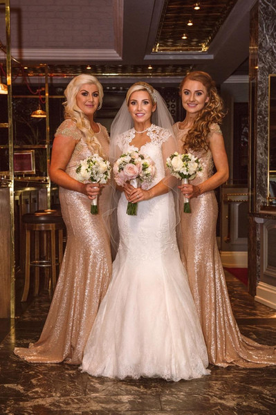 Sparkle Rose Gold Sequins 2018 New Mermaid Bridesmaid Dresses Short Sleeves Beaded Backless Long Wedding Party Maid Plus Size Honor of Gowns