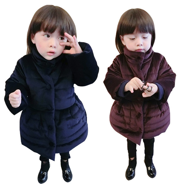 New Girls Winter Dress Kids Knitted Cotton-padded Jacket Coat Dress Bowknot Thick Warm Dress Children Clothing Black Wine Red in stock