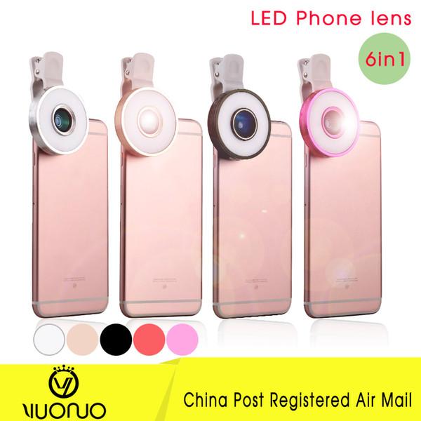 Wholesale-6 in1 schwarzes Telefonobjektiv 180 Fisheye Objektiv 0.65 Weitwinkel10 MakroHandy Kameraobjektiv für iPhone 6 6S plus 5 Farbenobjektive