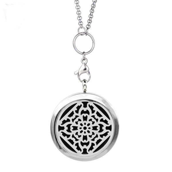 316L Stainless Steel Round Floating Magnet Lockets,Hollow Out Pattern Essential Diffuser Oil Cross Pattern Locket (Free Chain & Pads)