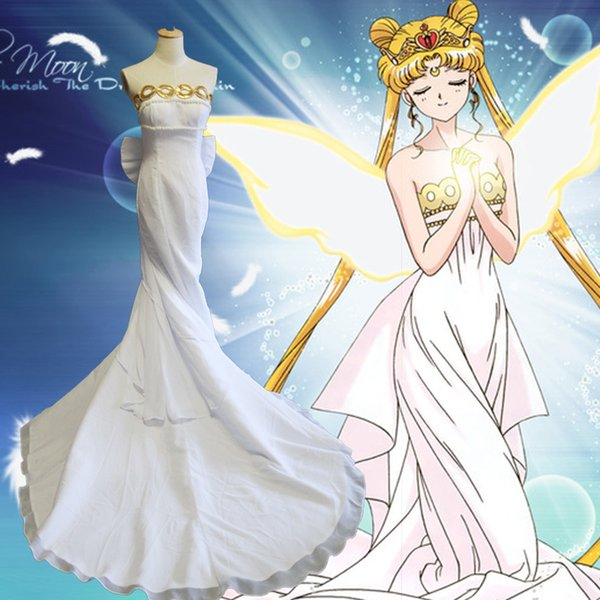 Anime Sailor Moon Cosplay Costume Princess Queen Wedding Gown - Anime Wedding Dress