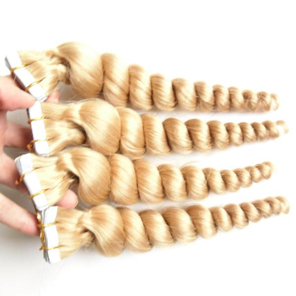 Colore # 27 Biondo alla fragola Brasiliano Onda allentata Capelli Pelle Trama Nastro Estensioni dei capelli 80 pezzi 200g nastro economico in estensioni dei capelli