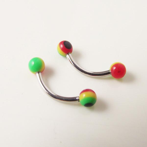 16G Stainless Steel Acylic Ball Rainbow Spike Eyebrow Rings Curved Barbell Banana Body Piercing Jewelry