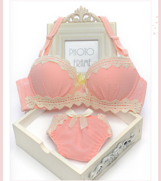 Small chest cute student girls underwear sets cotton thin models sweet girl bra sets gather