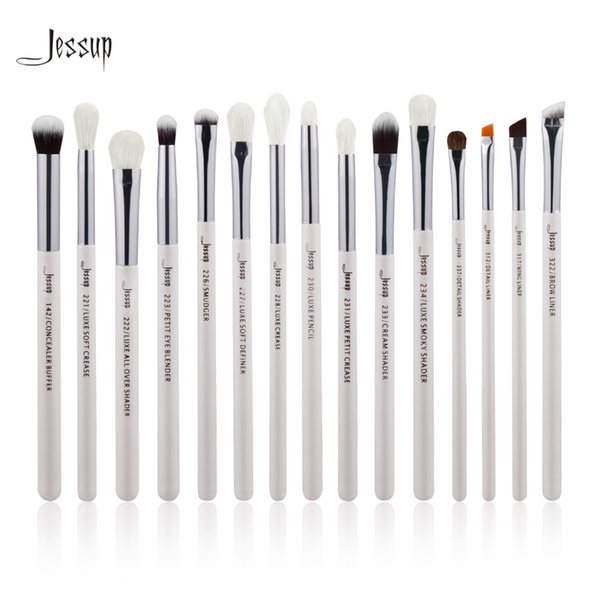 Jessup Brand Pearl White Silver Professional Makeup Brushes Set Make Up Brush Tools Kit Eye Liner Shader Natural Synthetic Hair