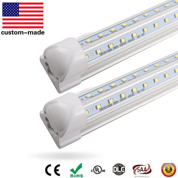 8ft LED Tube T8 Light 8 foot V-Shaped 2400MM 60W SMD2835 LED fluorescent tube T8 Integrated AC 100V-277V CE UL free FEDEX UPS