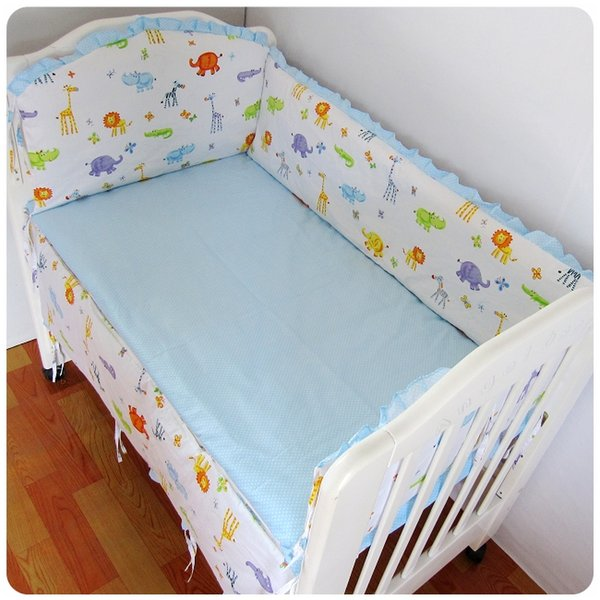 Promotion! 6PCS Baby cot bedding kit bed around 100% cotton crib bumper set cot nursery (bumpers+sheet+pillow cover)