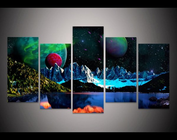 2017 New style Unframed wholesale abstract universe stars modern home decor wall art Print Painting on canvas Art Picture