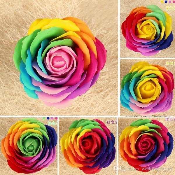 Rainbow 7 colorful Rose Soaps Flower Packed Wedding Supplies Gifts Event Party Goods Favor Toilet soap Scented bathroom accessories