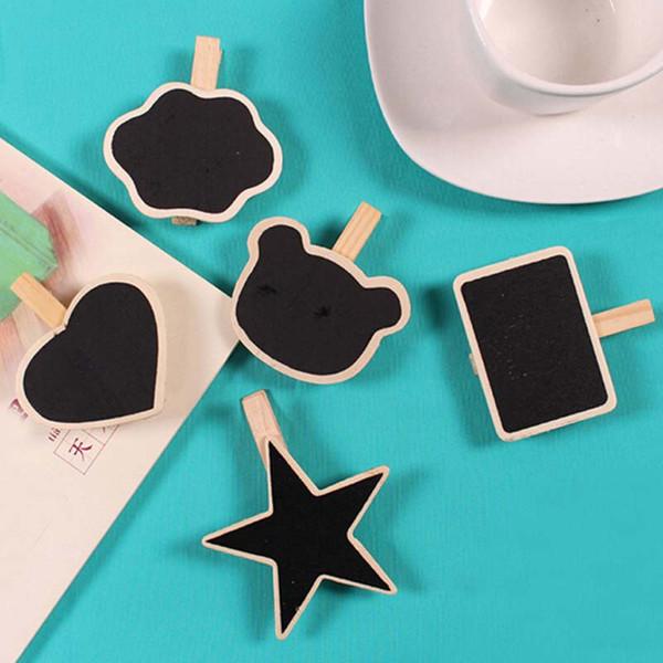 20 pçs / lote Atacado Bonito Forma De Madeira Mini Chalkboard Pequeno Clipe De Madeira Blackboard Portátil Escola Escritório Home Message Board
