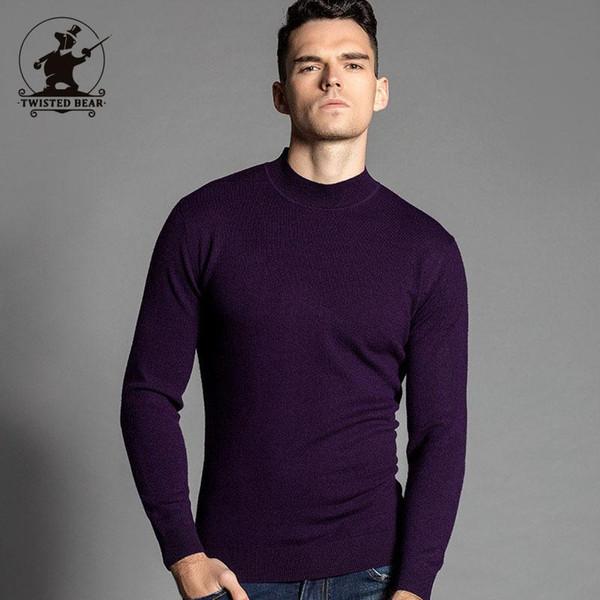 Jerseys al por mayor de los hombres 2016 nueva marca de moda de invierno de color sólido fino 100% lana de cordero merino del suéter casual de negocios hombres 24 color