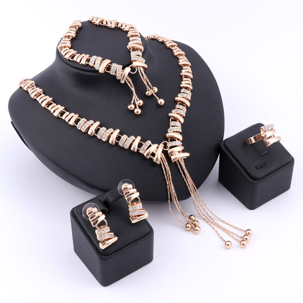 Nigerian African Vintage Fashion Gold Silver Plated Crystal Necklace Earrings Ring Bracelet Jewelry Sets For Girlfriend Women Wedding Party