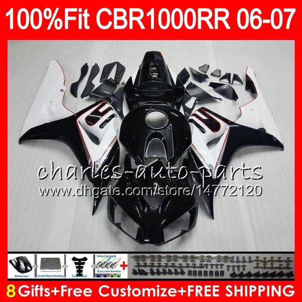 Injection Body For HONDA CBR 1000RR CBR1000 RR 06 07 Bodywork 78HM16 CBR1000RR 06 07 CBR 1000 RR 2006 2007 black white Fairing kit 100% Fit