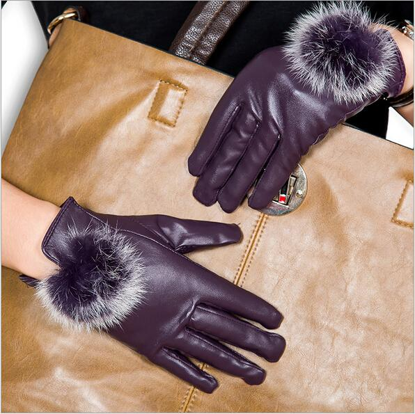 Wholesale- cute fashion sexy womens long leather warm gloves & winter fur mittens for female women waterproof leather Plush gloves 2015 new