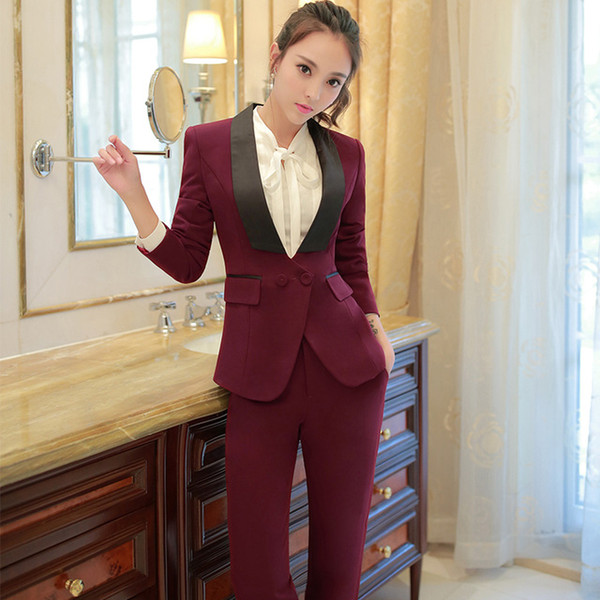 Shawl Collar Two Piece Ladies Formal Pant Suit For Wedding Office ...