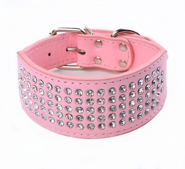 5 Rows Rhinestone Retractable Dog Diamond Collar Medium Large Pet PU Leather Collars Gold Silver Red Pink Color