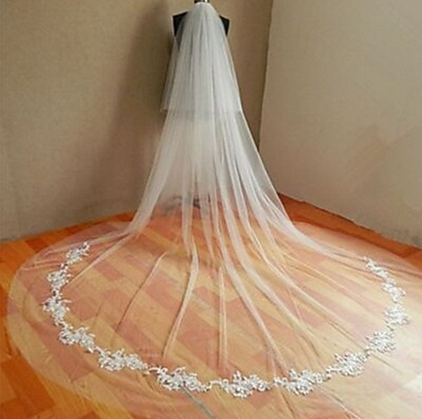New high Quality Sexy One Layer Romantic Cathedral short Lace Applique veil Bridal Head Pieces For Wedding Dresses Meidingqianna Brand