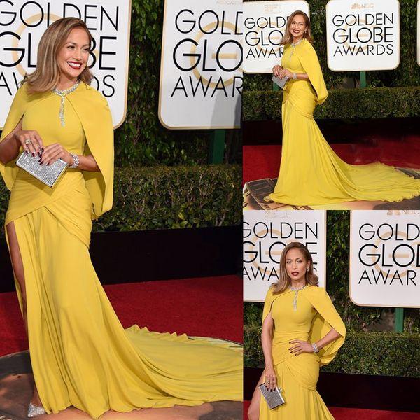 2018 73th Golden Globe Awards Celebrity Dresses Jennifer Lopez Red Carpet Dress Yellow Mermaid Ruched Long Evening Celebrity Dresses