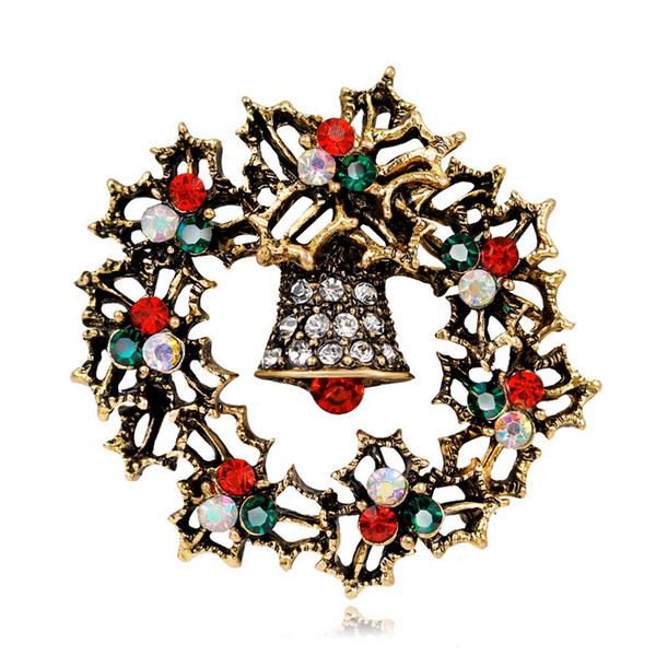 Brand New Christmas Brooch Vintage Alloy Rhinestone Christmas Bells Wreath Brooches Antique Gold and Sliver Plated DHL Free Shipping