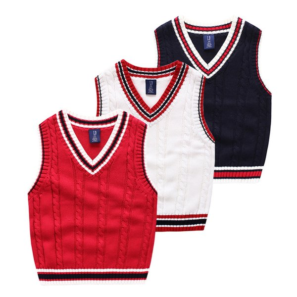 Knitted vest Kids Sweater Twist V-neck 2017 England style All-matched Baby clothes children Autumn winter cotton knitwear 3-7years