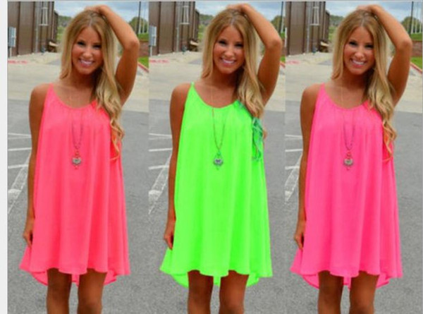 Summer Candy Colors Dress Women's Sundress Slash Neck Bandage Side Split Solid Mini Dress With Belt Beachwear
