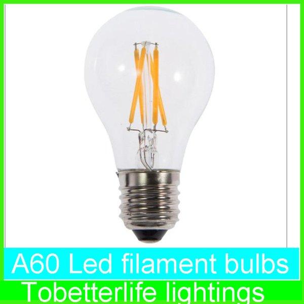 best selling E27 led filament light A60 A19 A60 bulbs E27 B22 8w 6w 4w 2w 360 Angle Led Lights Edison Lamp AC85~265V ce rohs