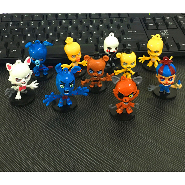 10pcs / set 6cm cinq nuits au Collection de dessins animés de figurines Freddy, jouets, ours en peluche, renards, canards, lapin