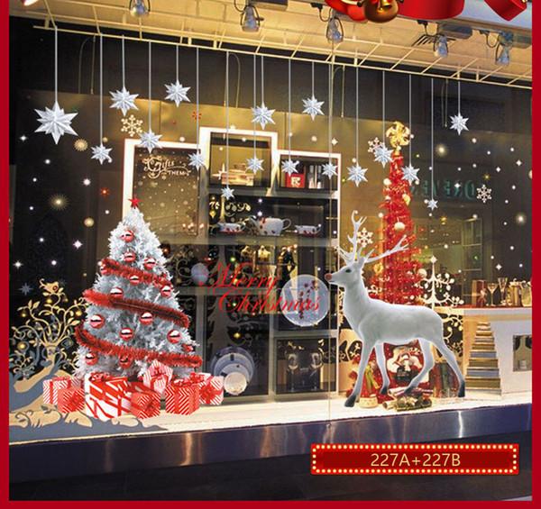 2PCS / LOT 60x90cm Wall Sticker Rimovibile Albero di Natale Adesivi per finestra Renna bianca Decorazione per vetrine per feste stagionali