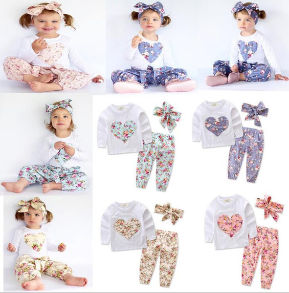 Baby girl INS heart-shaped flower Suits Kids Toddler Infant Casual long sleeve T-shirt trousers Hair band 3pcs sets clothes set KKA2650