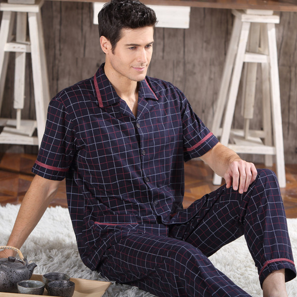 Wholesale-2016 NEW Cotton Pajamas Set For Men Short Sleeve Trousers Sleepwear Pyjamas Men Lounge Pajama Set Plus size M-5XL