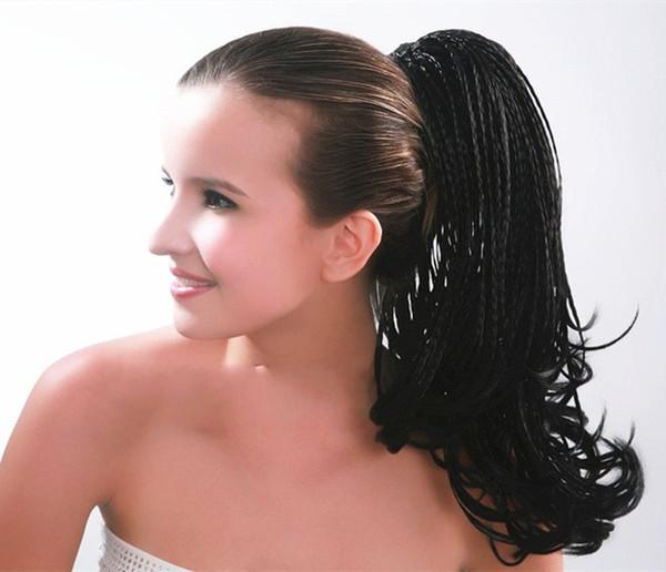 "Sara Braiding Hair Drawstring Straight Micro Braids Ponytail Hair Extension 45CM,18"",100g Clip in Ponytails Synthetic Hair Horsetaill"