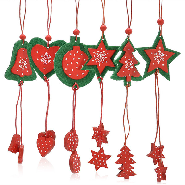 Christmas Tree Ring Heart Star Wooden With Non Woven Xmas Hanging ...