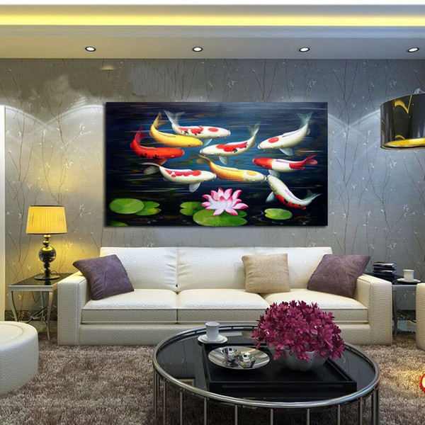High Quality Modern Abstract The Lovely Fish Pictures Oil Paintings On Canvas Wall Art For Home Decoration Huge Size No Frame