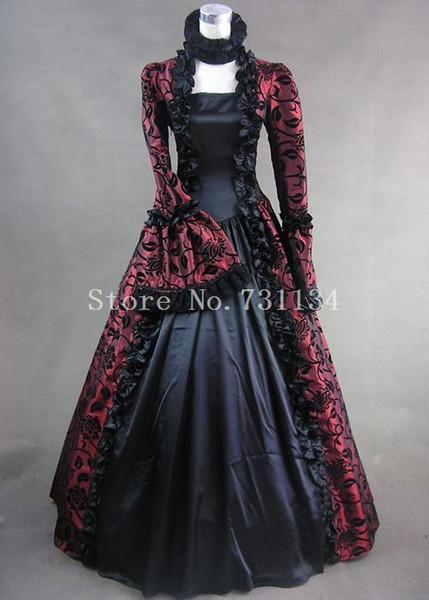 Wine Red Print Brocade Victorian Gothic Wedding Georgian Period Marie Antoinette Dress Ball Gown Vintage Victorian Period Costumes Women