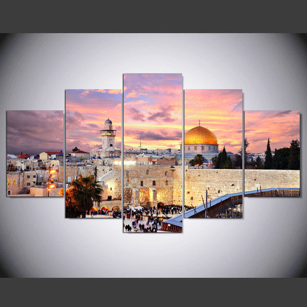 5 Panel Framed HD Printed Jerusalem Sunset Landscape Large Poster Canvas Oil Painting Wall Pictures For Living Room