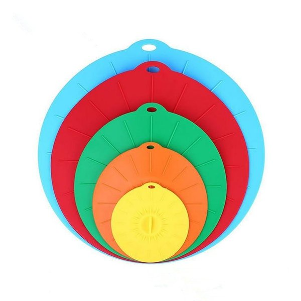 5pcs/set Silicone Preservation Lid Bowl Pan Cooking Pot Lid Reusable Suction Seal Covers Spill-proof Food Grade Silicone Pot Cover