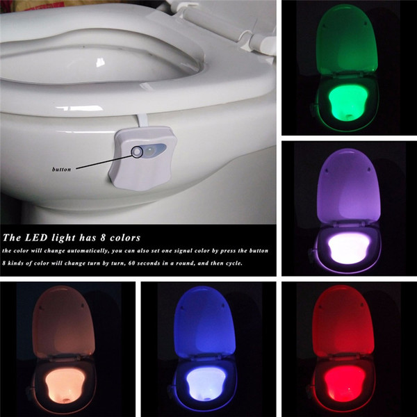 8 Colors Changing Motion Sensor Toilet Night Light Home Toilet Bathroom  Human Body Auto Motion Activated Sensor Seat Light Night Lamp. 2017 Changing Motion Sensor Toilet Night Light Home Toilet