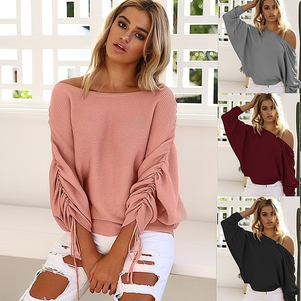 2017 Autumn Women Ladies Long Sleeve Off Shoulder Knitted Crochet Loose Batwing Sweater Jumper Tops 4 Colors 4 Size