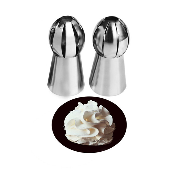 Wholesale- New 1PC Nozzles Tips Sphere Ball Cream Stainless Steel Icing Piping Nozzles Pastry Cupcake Buttercream RUSSIAN Bake Decor Tool
