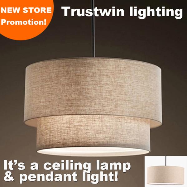 With flax fabric canvas linen ligen shade drum shape LED pendant Lamp light for dinning room living room foyer chandelier droplight
