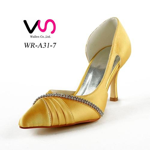 Yellow color 8cm wedding shoe inElegant Style Pointy Bridal Shoe Wedding Dress Shoes Handmade Shoes for Wedding From Size35-42 Free Shipping