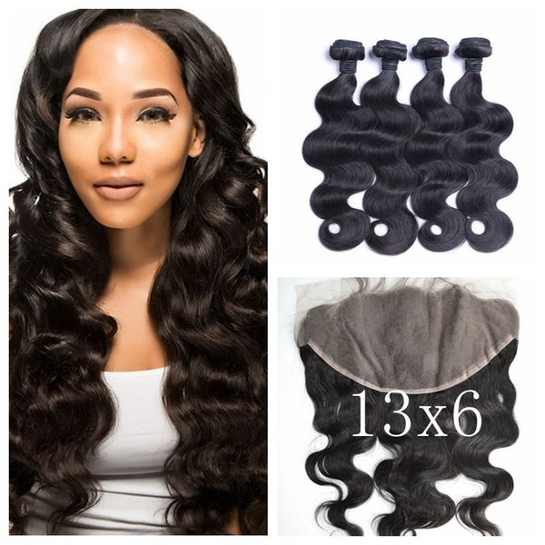 Ear To Ear 13X6 Lace Frontal Closure With Peruvian Body Wave Human Hair Weave Bundles 5pcs Lot 100% Human Hair LaurieJ Hair