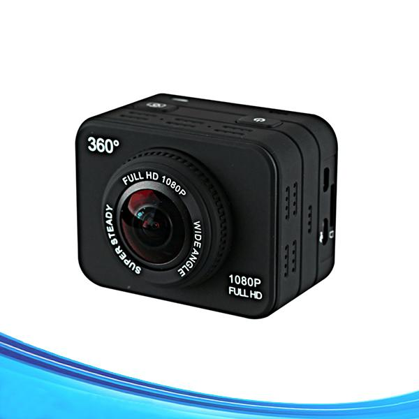 2pcs/lot By DHL Free Shipping Waterproof 360 Mini Sports Action Camera 1080P 360 Degree Panoramic VR Camera With WiFi