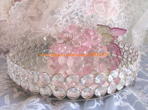 NEW Round Glass Crystal Vanity Jewelry Tray Sliver Mirror Dresser Perfume chic Gift