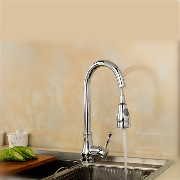 Factory direct sales of refined copper kitchen pull bibcock of cold and hot water kitchen faucet single hole sink water faucet